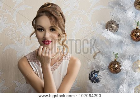 Lovely Girl With Decorated Xmas Tree