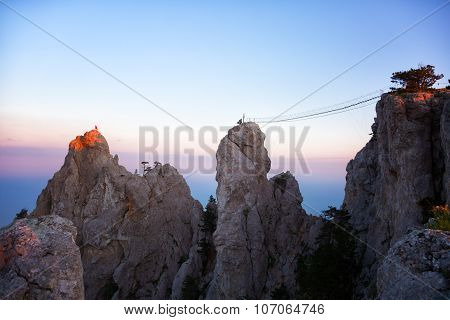 Beautiful View Of Rocks Ai-petri And The Rope Bridges Stretched To Them,  Crimea