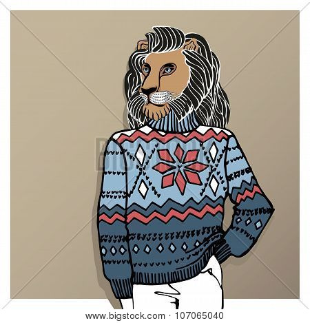 Cartoon lion in Jacquard hat ,sweater.Winter fashion