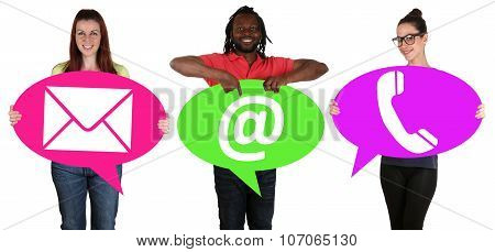 Young People Holding Speech Bubbles With Communication Contact Telephone, Mail Or E-mail Online