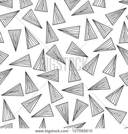 Black n white with lines and triangles. Seamless.