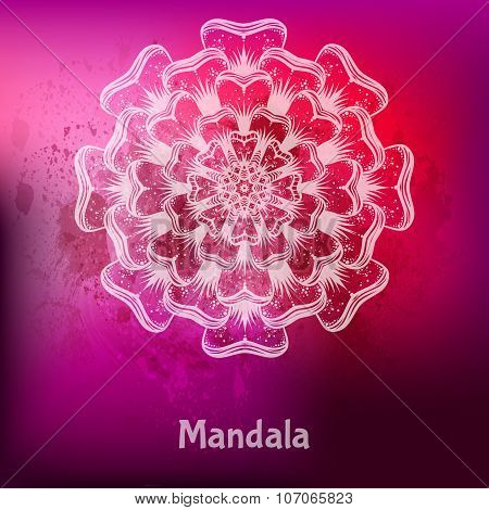 Ornament card with mandala. Ethnic decorative elements. Holiday,
