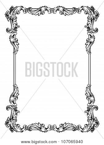Vector calligraphic frame in antique style