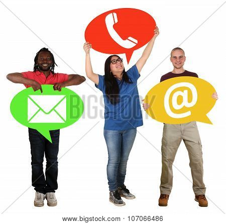 Group Of People Holding Speech Bubbles Communication Contact Telephone, Mail Or E-mail Online