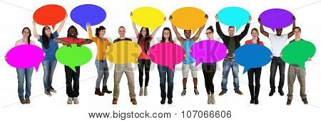 Group Of Young Multi Ethnic People Holding Speech Bubbles With Copyspace