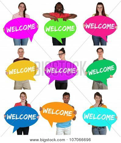 Refugees Welcome Group Of Young Multi Ethnic People With Speech Bubbles