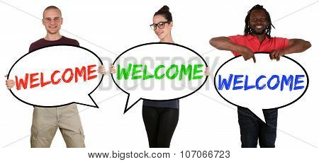 Refugees Welcome Young Multi Ethnic People Speech Bubbles
