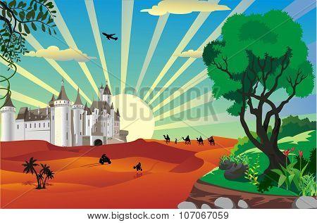 Landscape - Desert Fortress In The Vector [