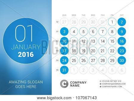 January 2016. Desk Calendar For 2016 Year. Vector Design Print Template With Place For Photo And Cir