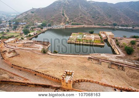 Aerial view on Maota Lake and Garden of ancient Amber Fort