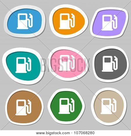 Petrol Or Gas Station, Car Fuel  Icon Symbols. Multicolored Paper Stickers. Vector