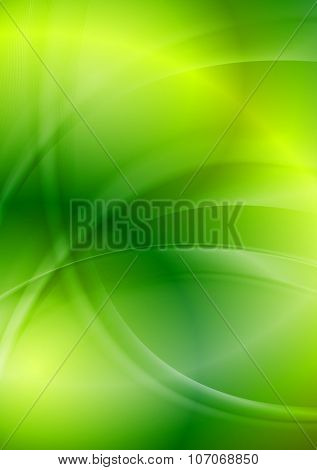 Shiny green iridescent wavy background