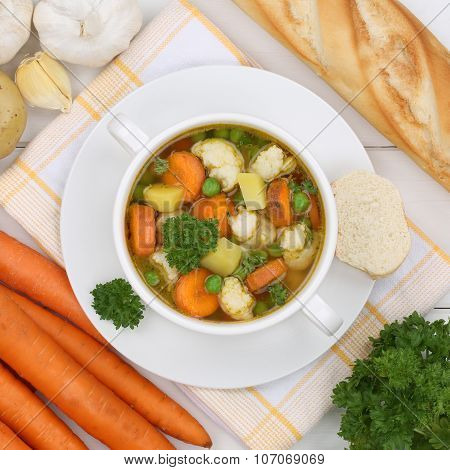Vegetable Soup Meal With Vegetables In Bowl From Above Healthy Eating