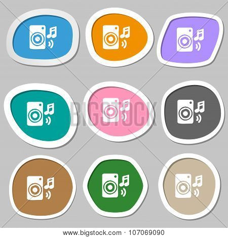 Music Column, Disco, Music, Melody, Speaker Icon Symbols. Multicolored Paper Stickers. Vector