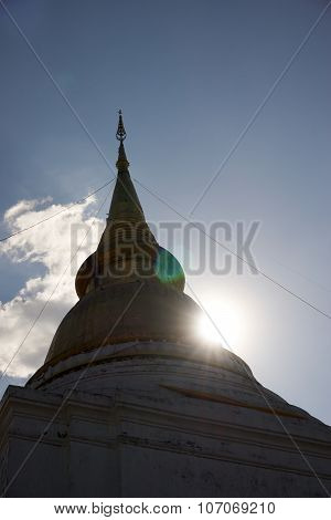Golden Pagoda Under Backlight