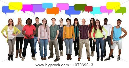 Multi Ethnic Group Of Young People Talking Saying With Speech Bubbles