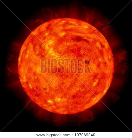 The Sun in Space on black background