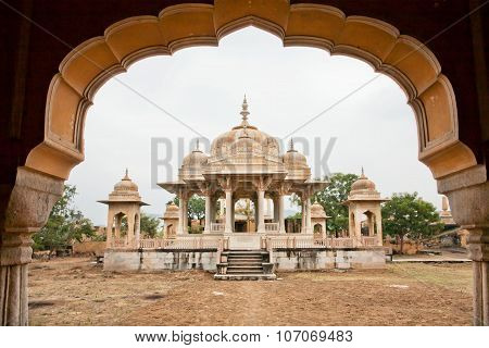 Cenotaphs Of The Maharajas Of Jaipur. Perfect Blending Of Islamic Architecture And Hindu Temple Arch