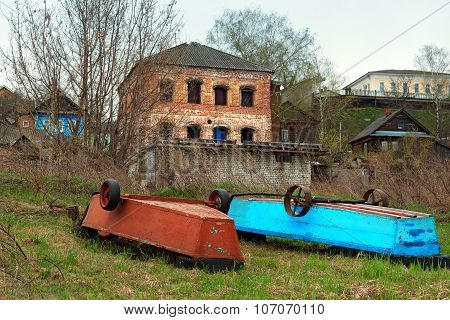 Old Boats On The Banks Of The Volga River In The Town Gorodets