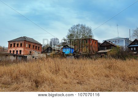 Old Houses On The Banks Of The Volga River In The Town Gorodets