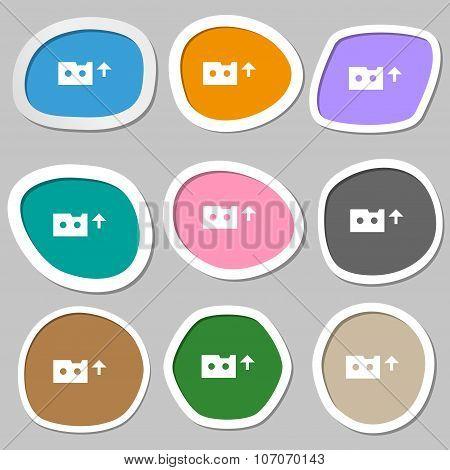 Audio Cassette Icon Symbols. Multicolored Paper Stickers. Vector