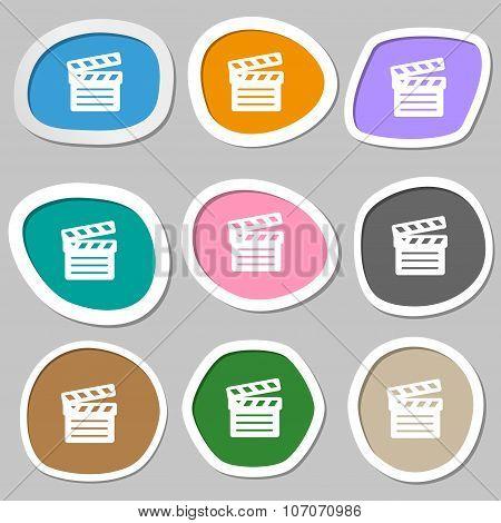 Cinema Clapper Icon Symbols. Multicolored Paper Stickers. Vector
