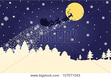 Christmas template.Silhouette Santa Claus coming to City