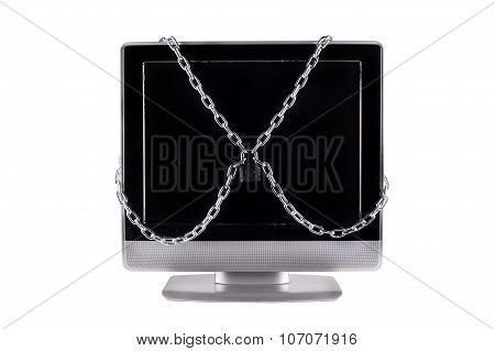 TV  locked with chain isolated white background