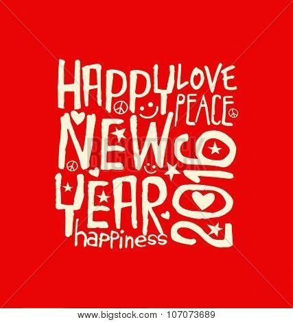 Happy New Year 2016 retro design