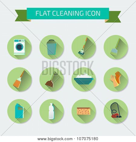 Flat vector color set of icons. House cleaning and laundry. Vect
