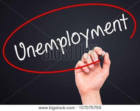Man Hand writing Unemployment with black marker on visual screen.
