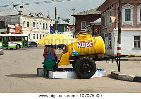 Barrel With Kvass On The Street