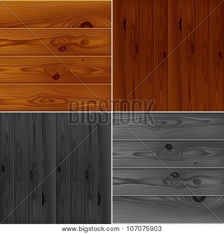 Set of realistic brown and grey wood boards textures