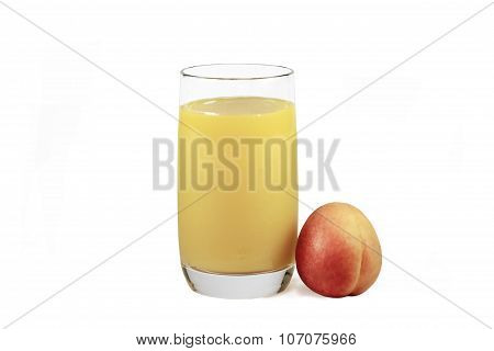 A Glass Of Fresh Apricot Juice And Apricot Fruit