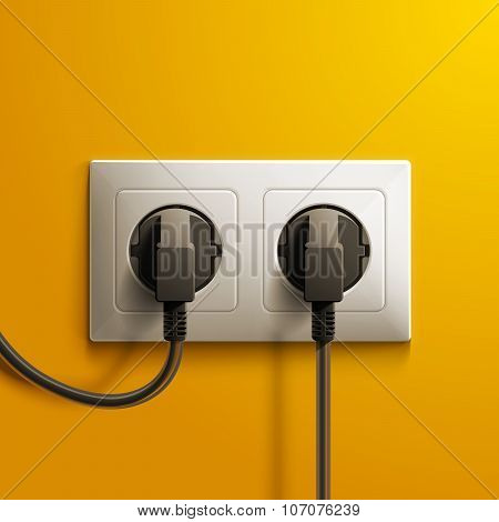 Realistic electric white double socket and two black plastic plugs on yellow wall background