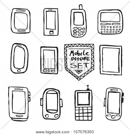 Hand drawn set of isolated mobile gadgets.
