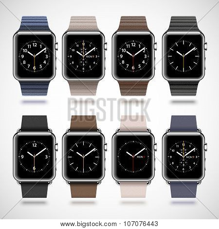 Set of 8 modern shiny smart watches