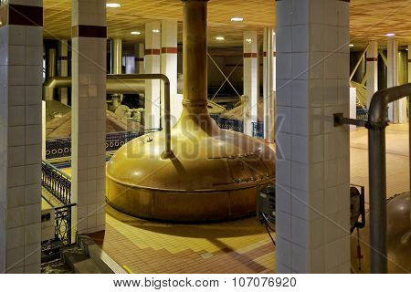 ST. PETERSBURG, RUSSIA - OCTOBER 24, 2015: Vintage brewing boiler at the Baltika - St Petersburg brewery during the October Beer Festival. The boiler now is not used in production