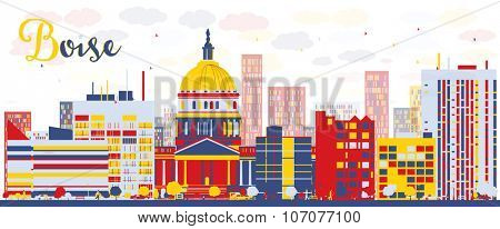 Abstract Boise Skyline with color Buildings. Business travel and tourism concept with modern buildings. Image for presentation, banner, placard and web site.
