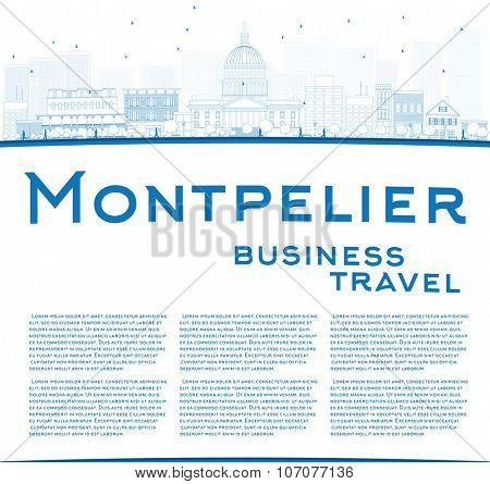 Outline Montpelier (Vermont) city skyline with blue buildings and copy space. Business travel and tourism concept with place for text. Image for presentation, banner, placard and web site.