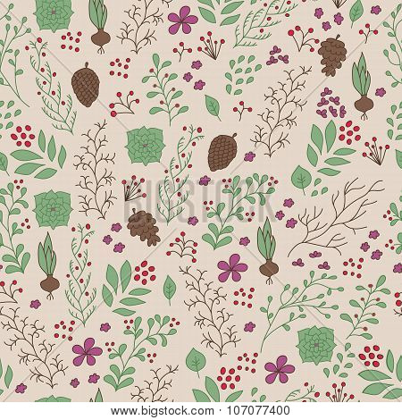 Hand Drawn Flowers And Plants Seamless Pattern