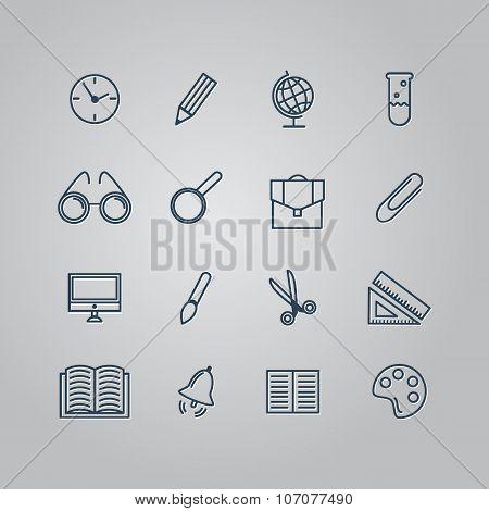 Set of line icons. Back to school. School supplies. Vector illus