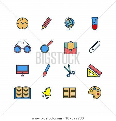 Color set of line icons. Back to school. School supplies. Vector