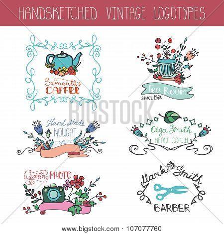 Vintage floral logotype set.Doodle hand drawing sketch