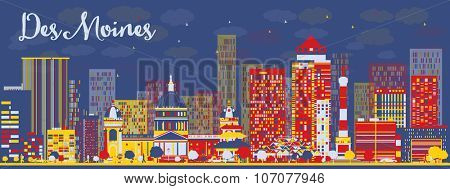 Abstract Des Moines Skyline with color Buildings. Business travel and tourism concept with modern buildings. Image for presentation, banner, placard and web site.
