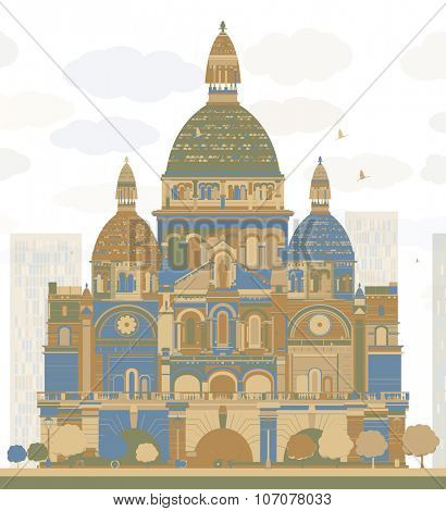 Basilica of the Sacred Heart, Paris, France. Business travel and tourism concept with historic building. Image for presentation, banner, placard and web site.