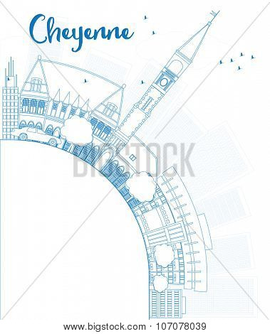 Outline Cheyenne (Wyoming) Skyline with Blue Buildings and copy space. Business travel and tourism concept with place for text. Image for presentation, banner, placard and web site.
