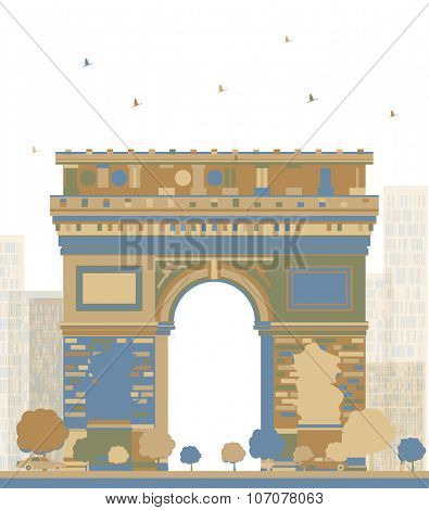 Color Arch of Triumph, Paris, France. Business travel and tourism concept with historic building. Image for presentation, banner, placard and web site.