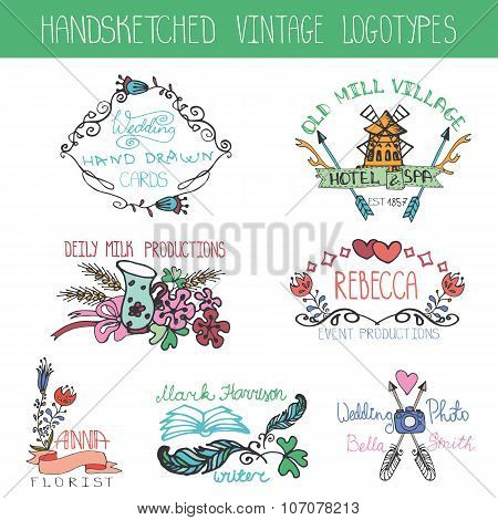 Vintage floral logotype set.Doodle hand drawing sketches