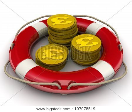 The concept of salvation financial savings. Coins with symbols of the British Pound Sterling